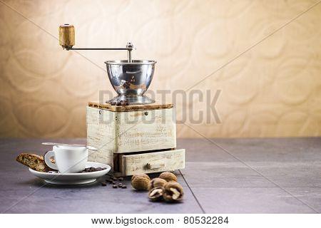 Coffee Grinder, Coffee And Sweet Italian Cookie Cantuccini