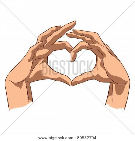 Love Symbol Made By Hands.