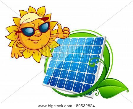 Cartooned cheerful sun with blue solar panel