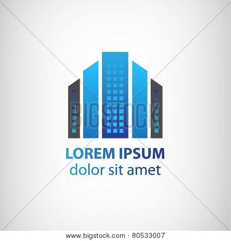 vector blue vertical abstract office building logo, apartment icon