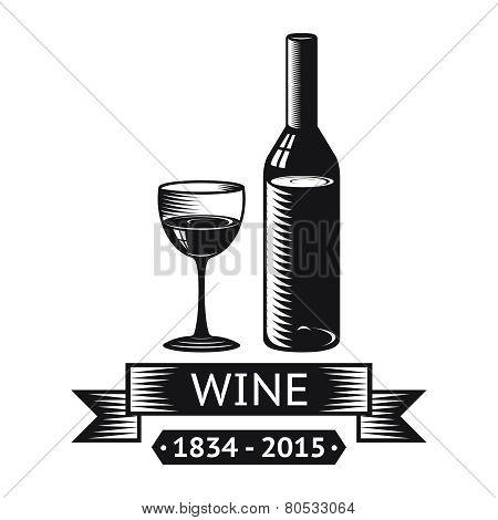 Wine Alcohol Drink Logo Symbol Bottle Glass ribbons Icon Isolated Vector Illustration