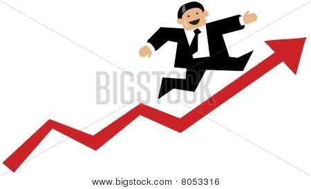Business man runs up a red business graph arrow