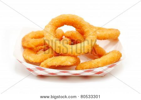 Fried Onion Rings In A Take Out Container