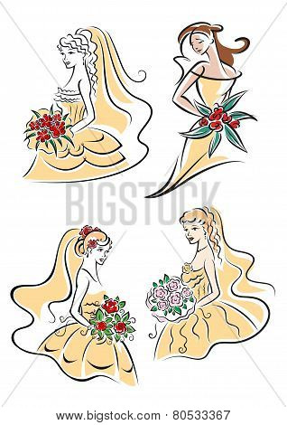 Happy outline brides with lush bouquets