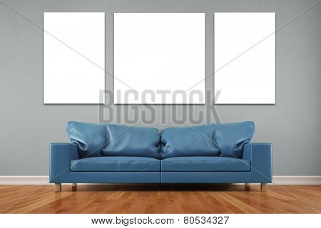 White three piece canvas over sofa in a living room on wall (3D Rendering)