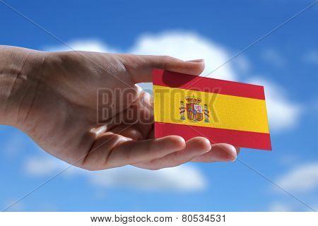 Small Spanish Flag Against Sky