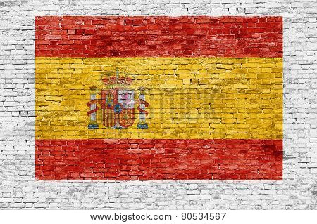 Spanish Flag Painted On Brick Wall