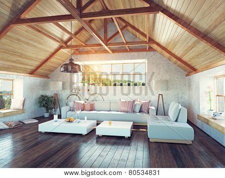 beautiful modern attic interior. 3d design concept.