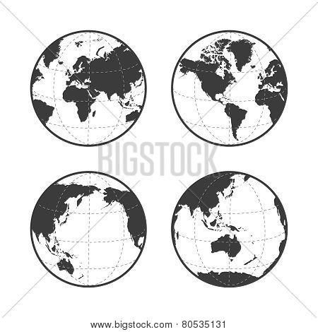Globe Earth Vector Icon Set On White Background