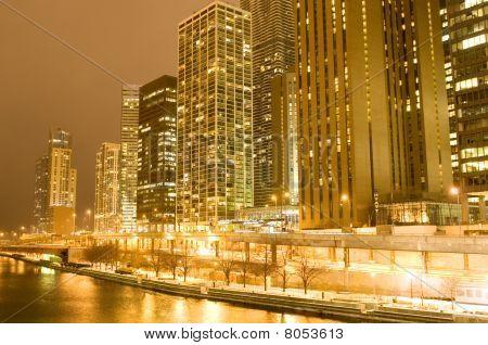 Chicago centro da cidade à noite
