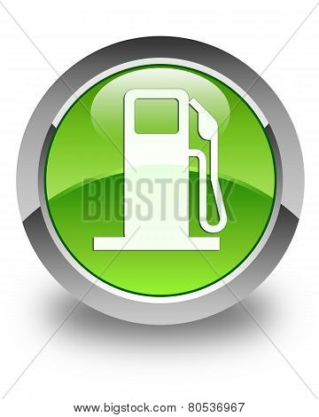 Pump Station Icon Glossy Green Round Button