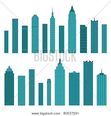 Set Of Vector Flat Building Icons Isolated On White Background