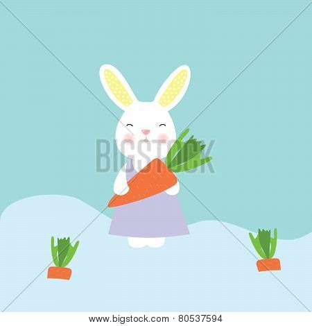 Cute bunny holding a carrot