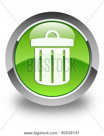 Recycle Bin Icon Glossy Green Round Button