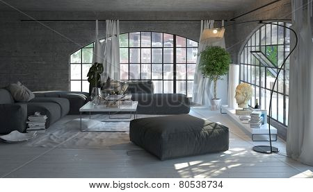 3D Rendering of Modern living room interior with large arched windows overlooking a garden with stylish grey and white decor and houseplants