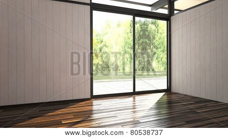 3d Rendering of Architectural background of an airy bright empty unfurnished room with hardwood floor and white painted timber clad walls and a large floor-to ceiling window overlooking a green garden