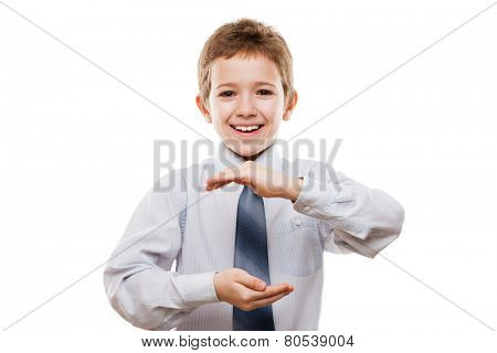 Beauty smiling child boy gesturing hand holding large size invisible sphere or globe white isolated