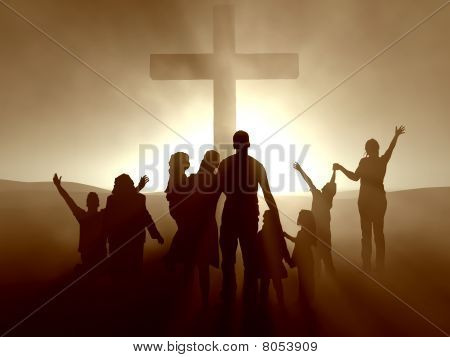 People at the Cross of Jesus Christ