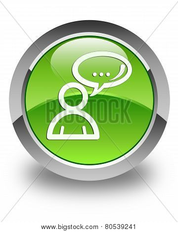 Social Network Icon Glossy Green Round Button