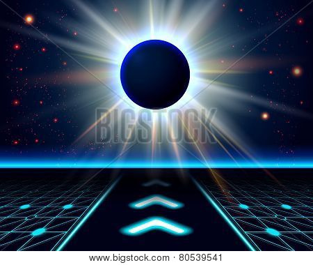 Unknown planet eclipse. Abstract cosmic background.