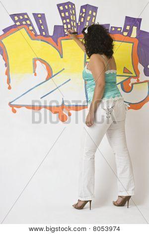 Women Writting On Wall