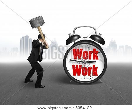 Businessman Using Sledgehammer Hitting Work Clock Broken Glass With Cityscape