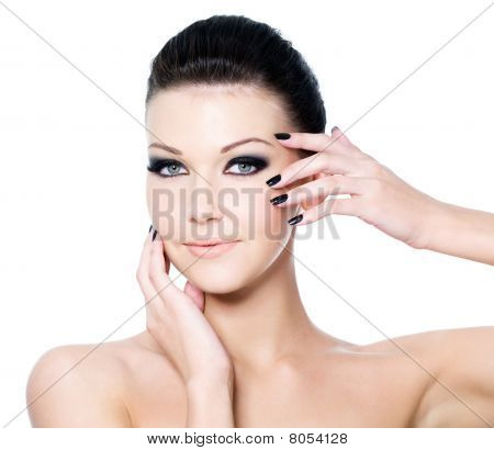 Fashion Woman's Make-up And Manicure