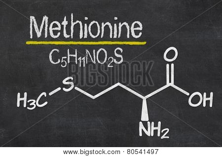 Blackboard with the chemical formula of Methionine