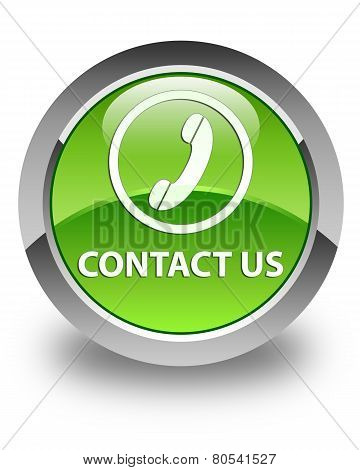 Contact Us (phone Icon) Glossy Green Round Button
