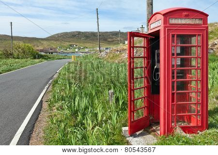 Red Phone Booth In Scottish Countryside