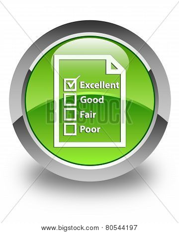 Questionnaire Icon Glossy Green Round Button