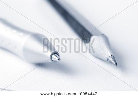 Pen And Pencil Closeup