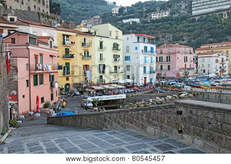 Buildings At The Port Of Marina Grande In Sorrento, Italy At Dusk