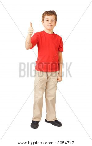 Little Boy In Red Shirt Standing On White Thumbsup Gesture