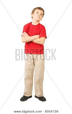 Little Boy In Red Shirt Crossed Hands Standing On White Background