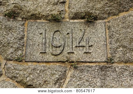 Year 1914 carved in the stone. The years of World War I.