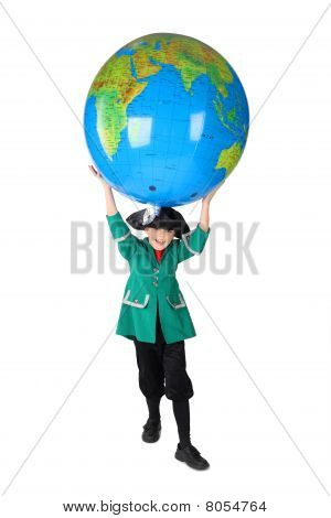 Little Boy In Historical Dress With Opened Mouth Holding Big Inflatable Globe Over His Head Isolated