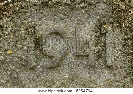 Year 1941 carved in the stone. The years of World War II.
