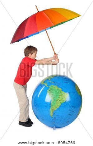 Boy In Red Shirt With Multicolored Umbrella And Inflatable Globe Side View Isolated On White