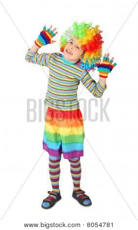 Little Boy In Clown Dress Hands Up Isolated On White Background