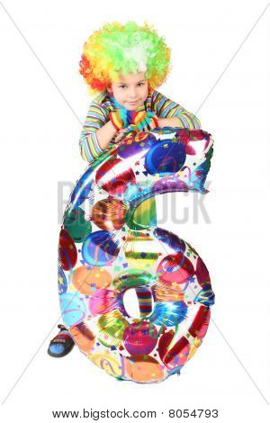 Boy In Clown Dress With Balloon Shape Six Isolated On White Background