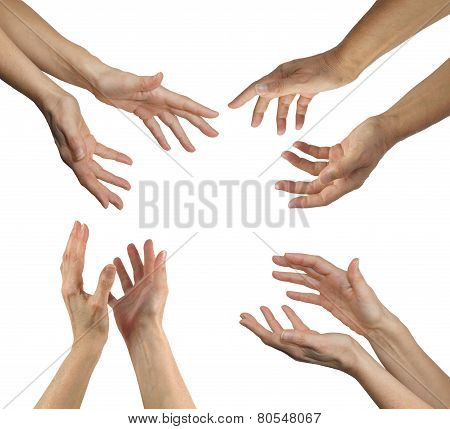 Healer's hands in four positions
