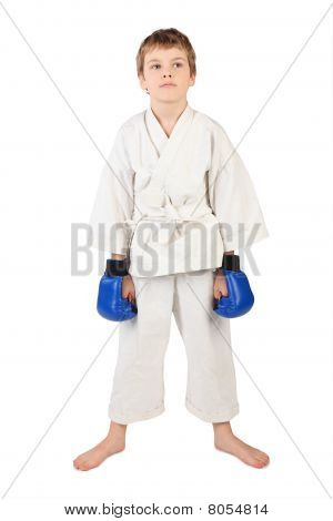 Little Boxer Boy In White Dress And Blue Boxing Gloves Hands Down Isolated On White