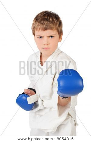 Little Boxer Boy In White Dress And Blue Boxing Gloves Fighting Isolated On White