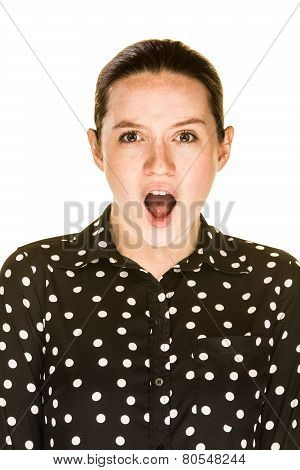 Surprised Attractive Caucasian Woman