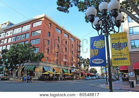 Signs And Buildings In The Gaslamp Quarter Of San Diego, California
