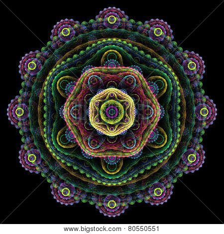 Round 3D Mandala On Black Background