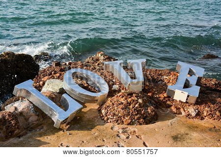Love, Text Invention On The Stone Beach