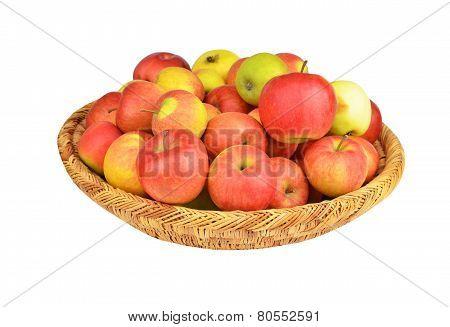 Red apple in a wattled basket