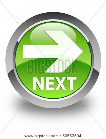 Next Icon Glossy Green Round Button